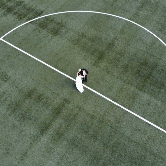 Drohnenflug Brautpaarbei Hochzeit